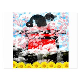 The Merciful Goddess 菩 薩 with flower and cat Ise Postcard