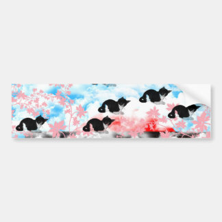 The Merciful Goddess 菩 薩 with flower and cat Ise s Bumper Sticker