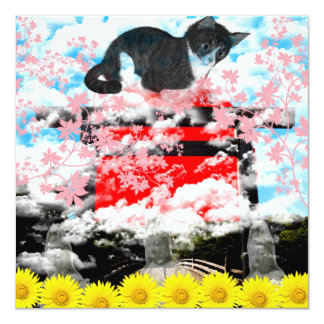 The Merciful Goddess 菩 薩 with flower and cat Ise s Card