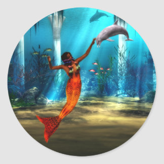 The Mermaid and the Dolphin Classic Round Sticker