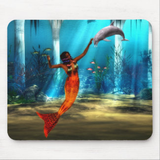 The Mermaid and the Dolphin Mouse Pad