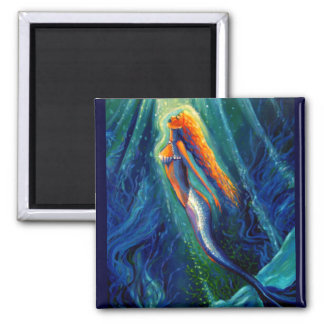 The Mermaid and The Mirror 2 Inch Square Magnet