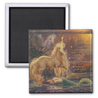 The Mermaid and the Unicorn 2 Inch Square Magnet