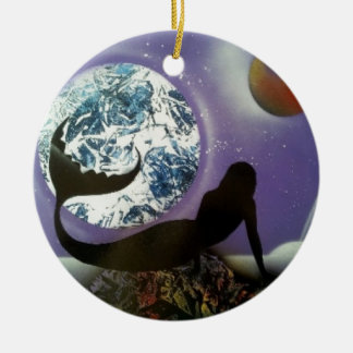The Mermaid Double-Sided Ceramic Round Christmas Ornament