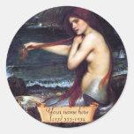 """The Mermaid"" Pre-Raphaelite Bookplate Round Sticker"