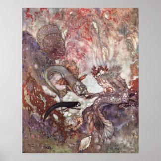 The Merman King by Edmund Dulac Poster