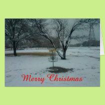 The Merry Christmas disc golf goal in snow card