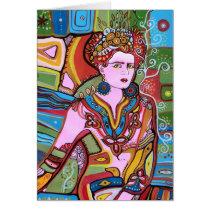 pink,woman,lady,female,portrait,surre,art,painting,fashion,beauty,bonita,artist, Card with custom graphic design