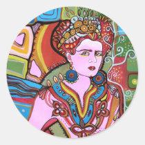 pink,woman,lady,female,portrait,surre,art,painting,fashion,beauty,bonita,artist, Sticker with custom graphic design