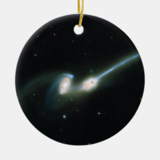 The Mice Galaxies NGC 4676 Colliding and Merging Ceramic Ornament
