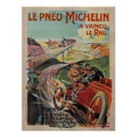 The Michelin Tires ~ Defeated The Rail France 1905 Print