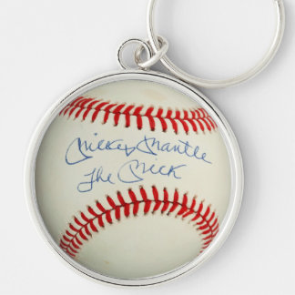 The Mick Mickey Mantle Baseball Charm Pendant Silver-Colored Round Keychain