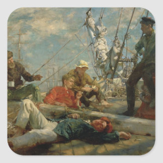 The Midday Rest (Sailors Yarning), 1906 (oil on ca Square Sticker