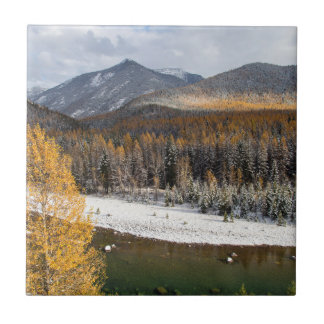 The Middle Fork Of The Flathead River Small Square Tile