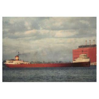 The Mighty Fitz! Edmund Fitzgerald Vintage Sailing Wood Poster