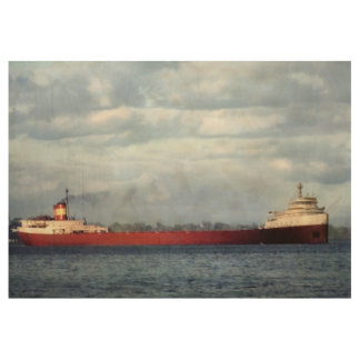 The Mighty Fitz! The Edmund Fitzgerald Vintage Wood Poster