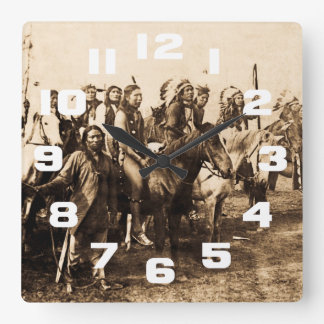 The Mighty Sioux Vintage Native American Warriors Square Wall Clock