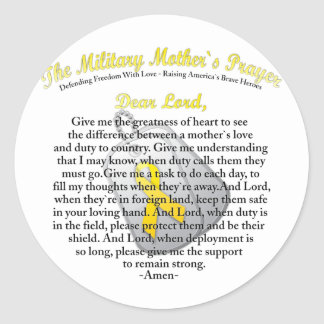 The Military Mother`s Prayer Round Sticker