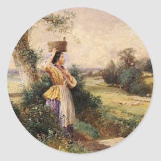 The Milk Maid - Myles Birket Foster Classic Round Sticker