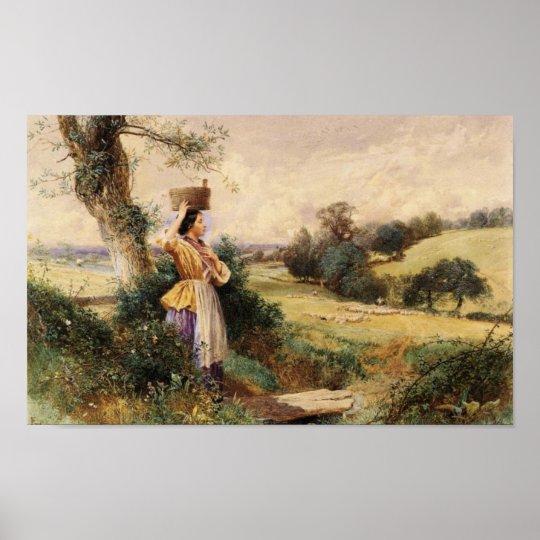 The Milk Maid - Myles Birket Foster Poster