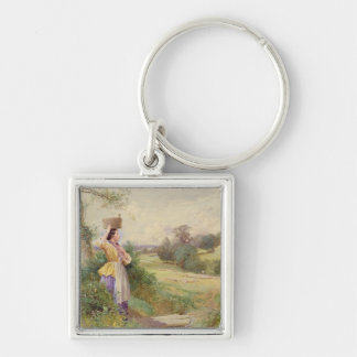 The Milkmaid, 1860 Silver-Colored Square Keychain