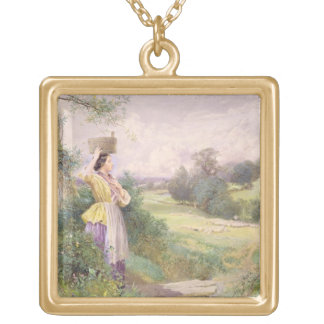The Milkmaid, 1860 (w/c on paper) Gold Plated Necklace