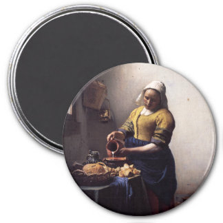 The Milkmaid by Johannes Vermeer 3 Inch Round Magnet