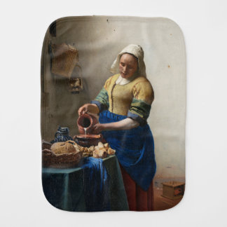 The Milkmaid by Johannes Vermeer Burp Cloth