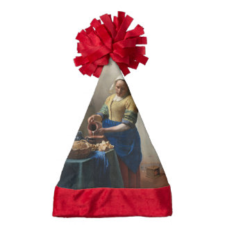 The Milkmaid by Johannes Vermeer Santa Hat