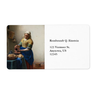 The Milkmaid by Johannes Vermeer Custom Shipping Label