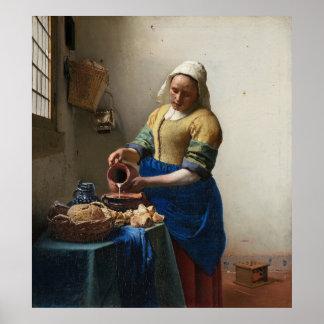The Milkmaid by Johannes Vermeer Poster