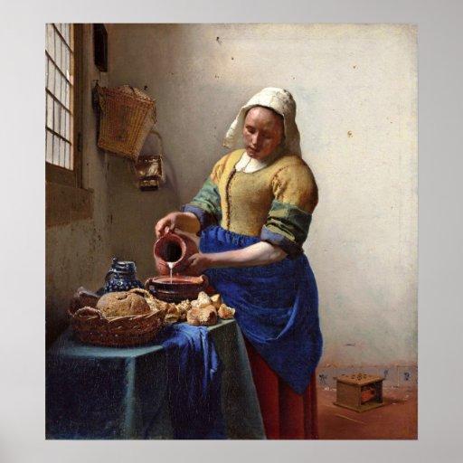The milkmaid. by Johannes Vermeer Print