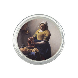 The Milkmaid by Johannes Vermeer Rings