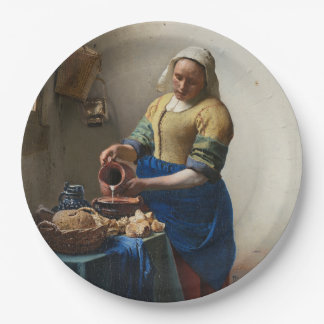 The Milkmaid by Johannes Vermeer 9 Inch Paper Plate