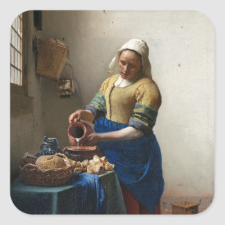 The Milkmaid by Johannes Vermeer Square Sticker