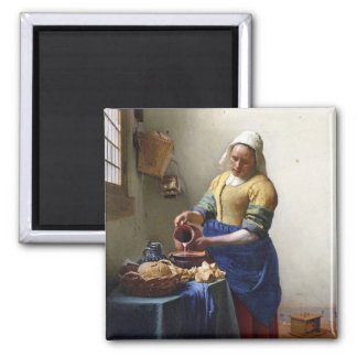 The Milkmaid, c.1658-60 (oil on canvas) 2 Inch Square Magnet