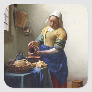 The Milkmaid, c.1658-60 (oil on canvas) Square Sticker