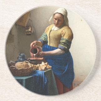 The Milkmaid, Jan Vermeer Beverage Coasters