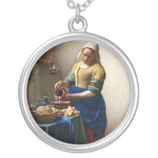 The Milkmaid, Jan Vermeer Round Pendant Necklace