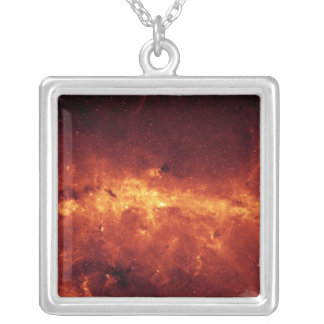 The Milky Way center aglow with dust Square Pendant Necklace