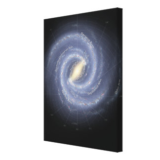 The Milky Way Galaxy (annotated) Gallery Wrapped Canvas