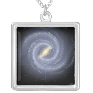 The Milky Way Galaxy (annotated) Silver Plated Necklace