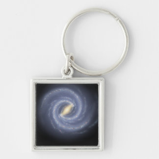 The Milky Way Galaxy Silver-Colored Square Keychain