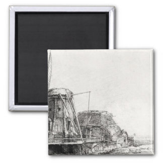 The Mill, 1641 2 Inch Square Magnet