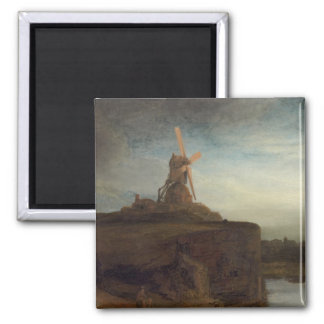 The Mill, 1645- 48 (oil on canvas) 2 Inch Square Magnet