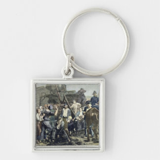 The Miner's Strike in Carmaux Silver-Colored Square Keychain