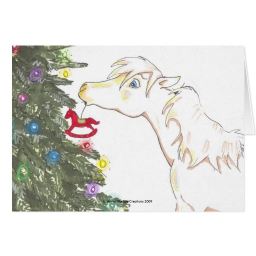 The mini and the Christmas tree Greeting Card