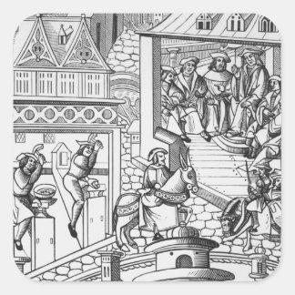 The Mint, after a woodcut in 'De l'Institution de Square Sticker