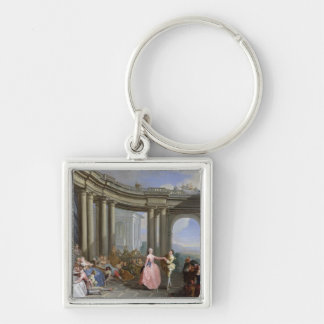 The Minuet Silver-Colored Square Keychain