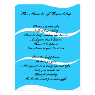 The Miracle of Friendship poem Postcard